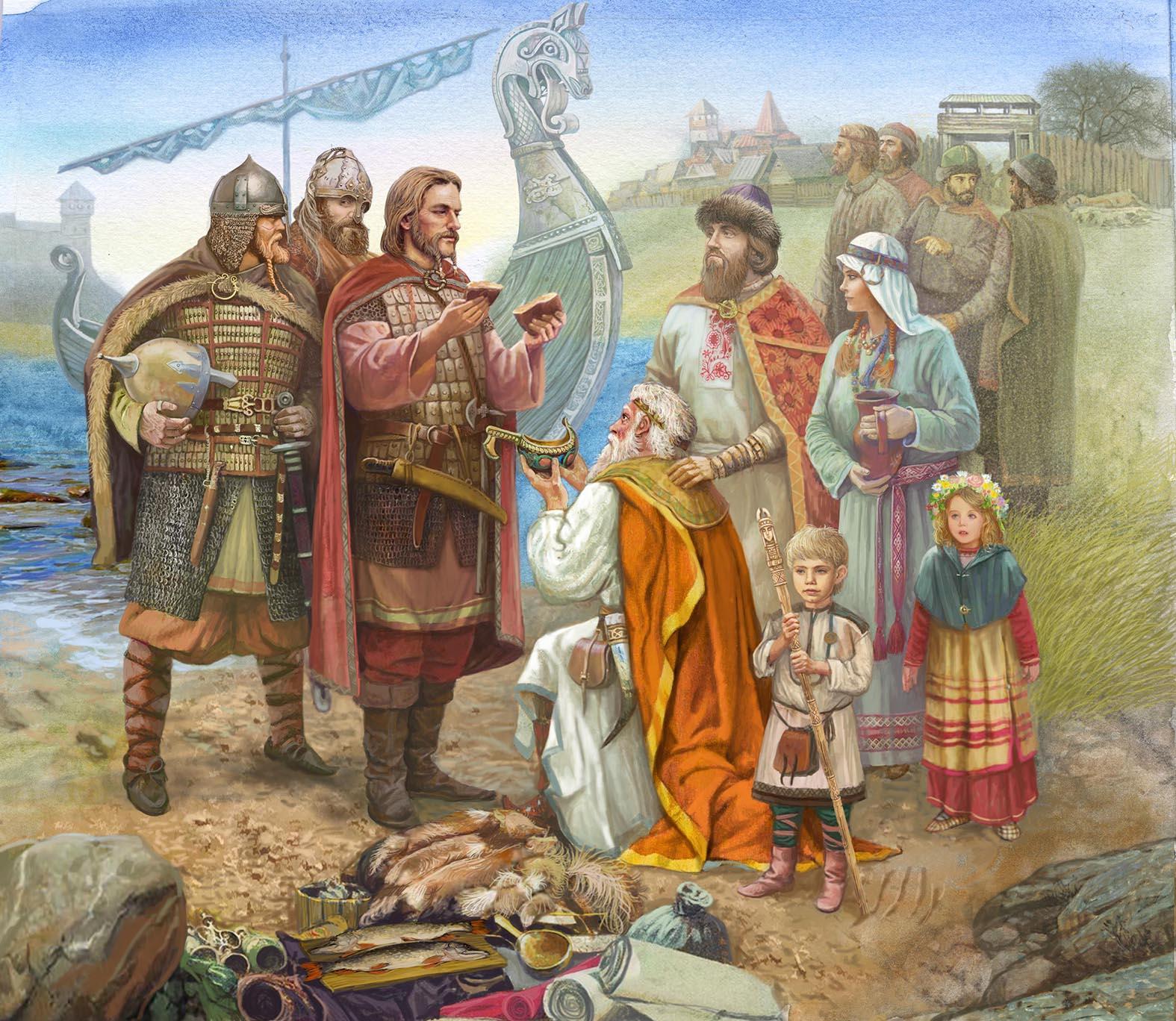 Призвание Рюрика. В. Дударенко. Из века в век - одна идея, одна композиция: три брата и драккар слева, народ справа.