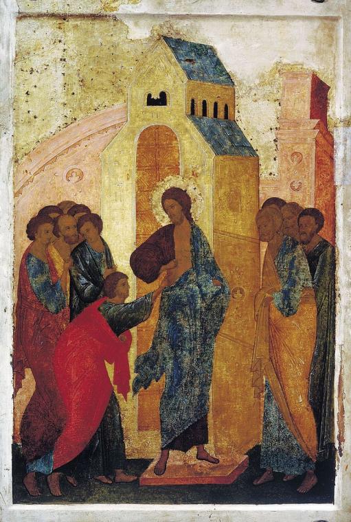 """Вот, к примеру, """"Уверение Фомы"""" — икона Дионисия."""
