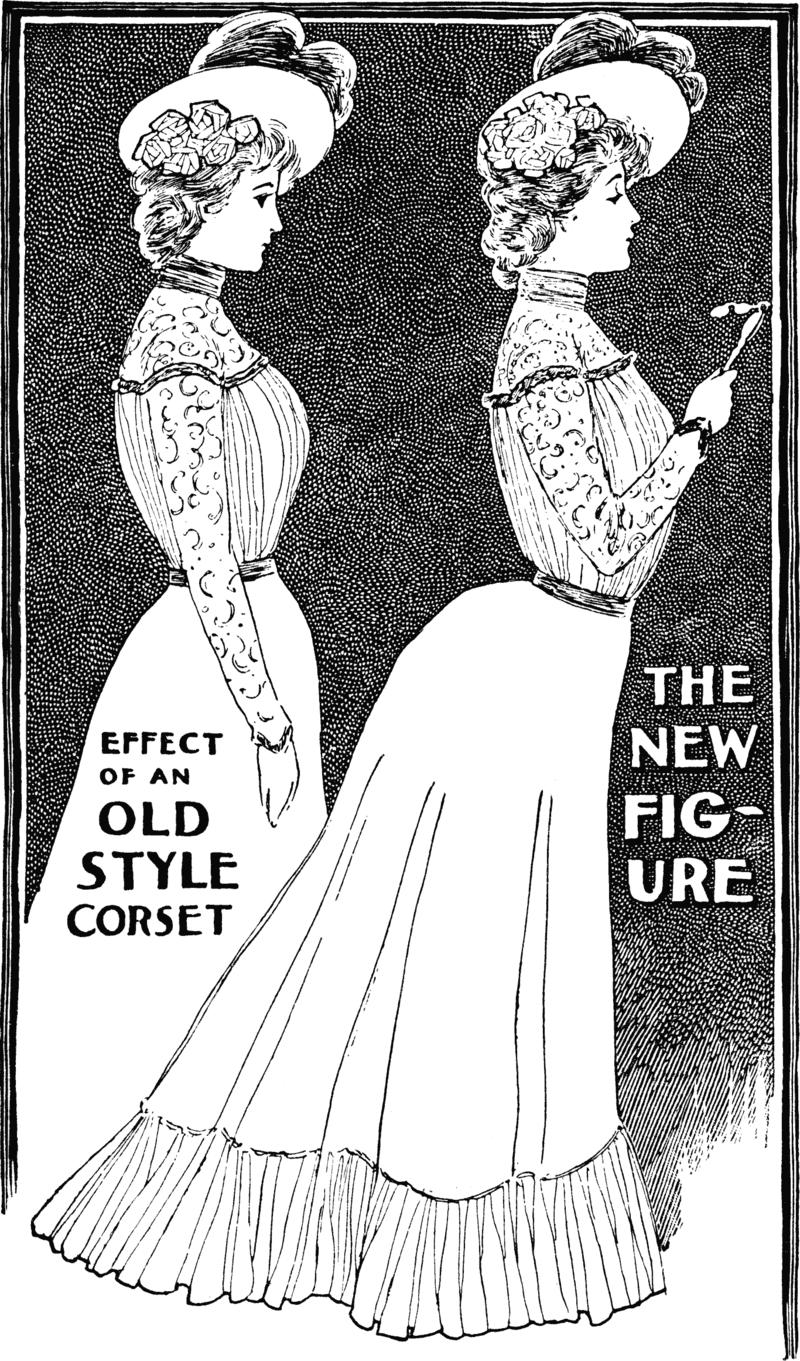 """Реклама 1900 года. Надписи: """"Эффект от корсета в старом стиле"""" и """"Новая фигура""""."""
