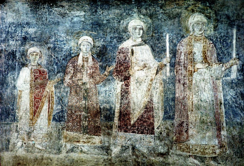 Дочери Ярослава — фреска из Киевской Софии.