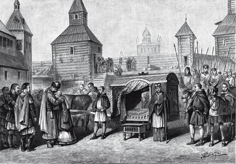 Отъезд княжны Анны Ярославны во Францию для венчания с королём Генрихом I. Гравюра Шлиппера.
