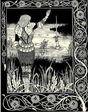 Сэр Бедуир возвращает Экскалибур Владычице Озера после смерти Артура. Гравюра Обри Бэрдсли, 1894.