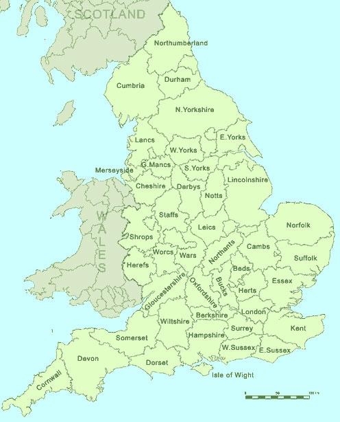 Карта графств Британии, по которой можно приблизительно определить места битв Артура.