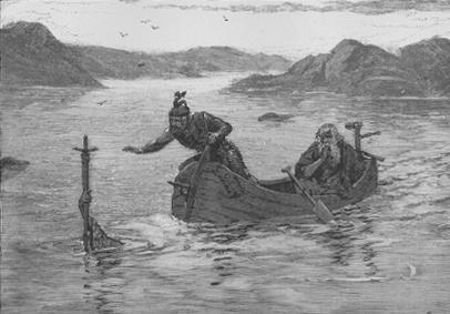Владычица Озера вручает Артуру меч Экскалибур. Рисунок Альфреда Каппеса, 1880.