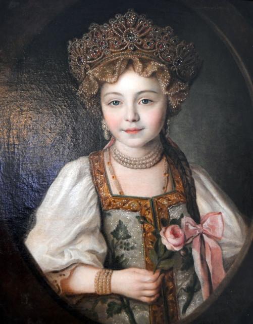 Великая княжна Александра Павловна в русском народном костюме, 1790.