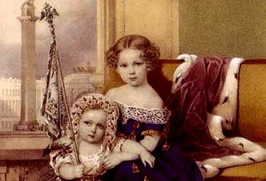 Александра Александровна с младшим братом, предположительно - Великим князем Владимиром