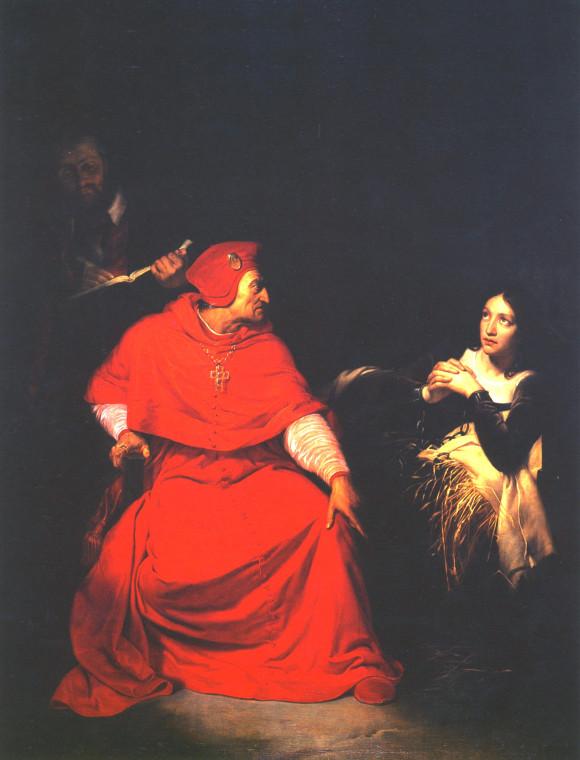 Кардинал Винчестерский навещает Жанну в тюрьме. Художник П. Делярош.