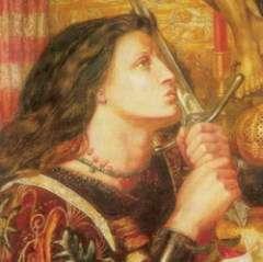 Чудесный меч Фьербуа из аббатства им. святой Екатерины. С ним молва связывала военные успехи Жанны. Художник Д. Г. Россетти.