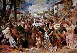 «Бояре, застигнутые на пиру посланцами Влада Цепеша». Теодор Аман, XIX век.