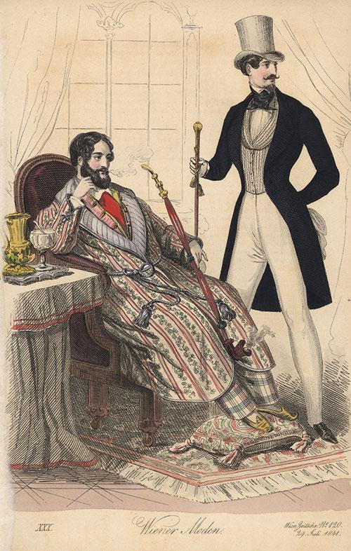 Домашний и прогулочный костюмы джентльмена, Великобритания, 1841. Даже невооружённым взглядом видно, что под прогулочным костюмом надет корсет.