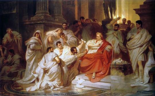 Убийство Цезаря. Карл Теодор Пилоти, 1865. На картине видно, как Каска замахивается кинжалом.