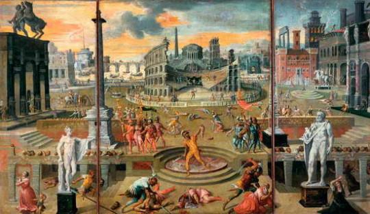 Жертвы [второго] триумвирата. А. Карон, 1566. На картине присутствуют явные анахронизмы - Колизей, построенный при императорах Веспасиане и Тите, далеко не римские платья у женщин и штаны на мужчинах.