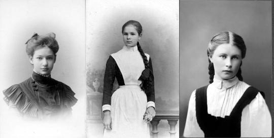 Слева направо: Ксения Берман, Царскосельская женская гимназия; неизвестная девочка, Петербургская женская гимназия; Валерия Гущина, Бугурусланская женская гимназия.