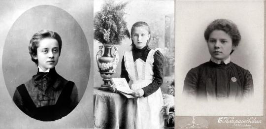 Слева направо: София Парнох, Таганрогская женская гимназия; Надежда Забаева, Иваново-Вознесенская женская гимназия; неизвестная девочка, Астраханская женская гимназия.