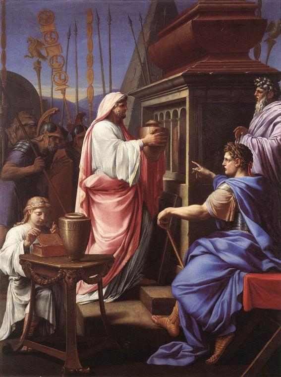 Калигула помещает прах матери и брата в гробницу предков, Эсташ Лёсюёр, 1647.