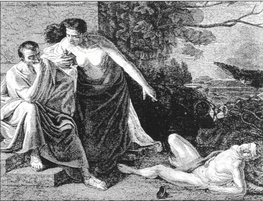 Локуста и Нарцисс пробуют яды. Гравюра Бокура с картины Ксавье Сигалона. XIX век. Вольноотпущенник Нарцисс был одним из доверенных лиц императора Нерона.
