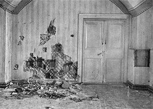 Подвал дома Ипатьева после расстрела.