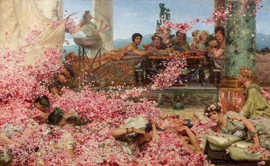 Розы Гелиогабала, Лоуренс Альма-Тадема. По легенде, на пирах Гелиогабал приказывал раскидывать с потолка такое количество цветов, что пирующие в них задыхались.