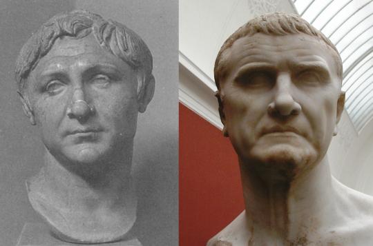 Гней Помпей Великикй (слева) и Марк Лициний Красс (справа).