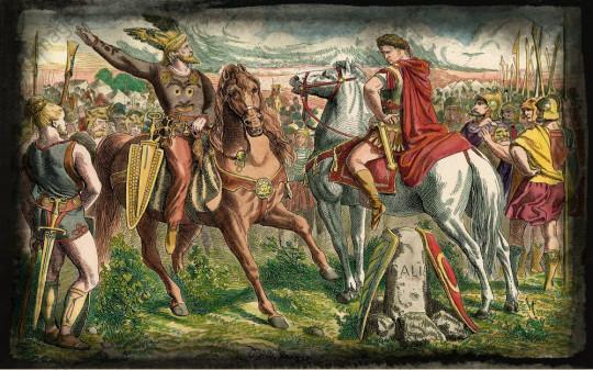 Цезарь и Ариовист (вождь германского племени свевов, перешедшего Рейн и проникшего в Галлию) перед битвой. Иоганн Непомук Гейгер, 1873.