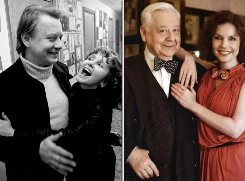 Табаков с первой женой Людмилой Крыловой (слева). Справа — с Мариной Зудиной.