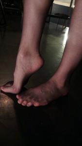 Bare stocking feet