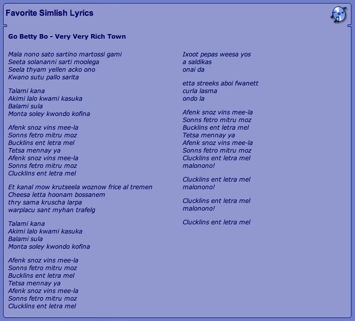 simlish lyrics - go betty bo