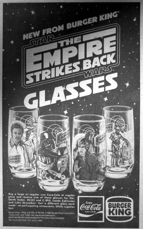 empire strikes back burger king glasses