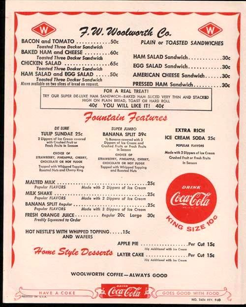 1950's Woolworth's menu