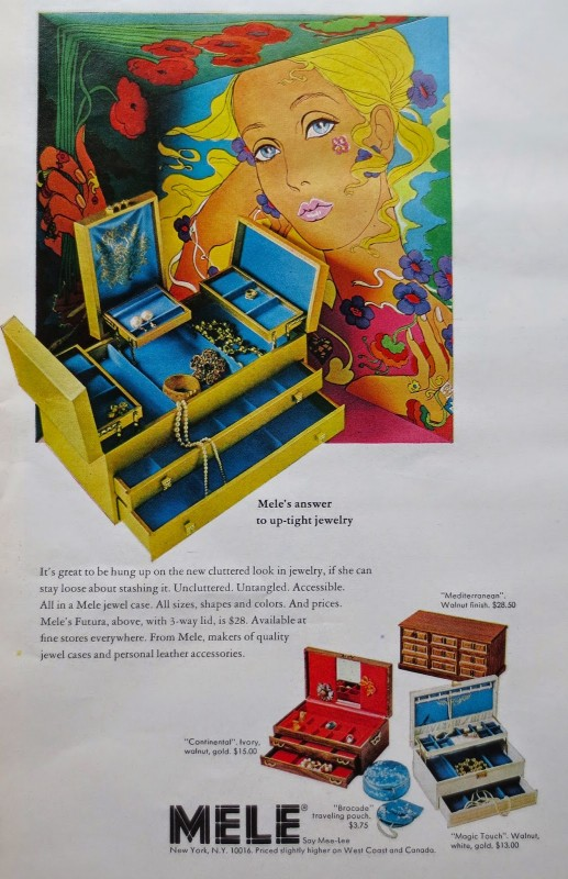 1969 Vintage Ad 1960s Mele Jewelry Boxes