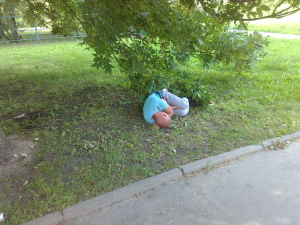 Мирно спящий на улице