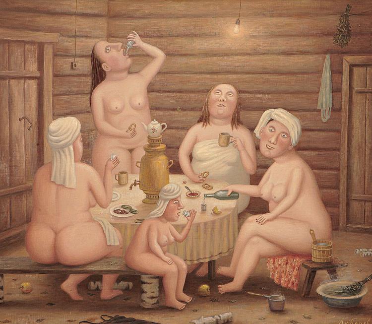 бабушки в бане