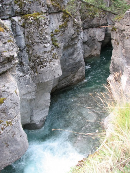 flowing towards a cave