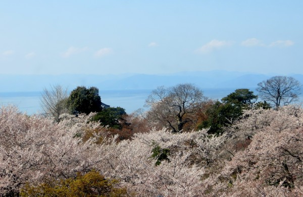 distant view of lake Biwa and mountains