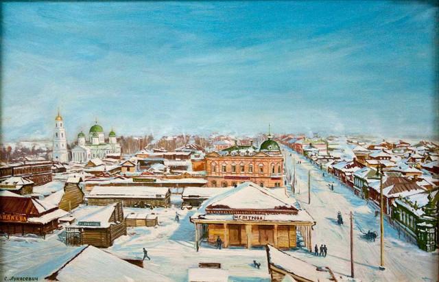 Лукасевич Е. М. Стерлитамак. Базарная площадь. 1916. Холст. Масло.