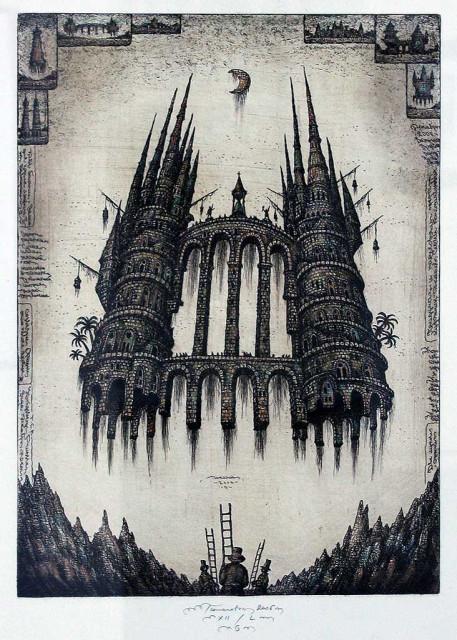Работы С. Тюканова. Две башни. Офорт.