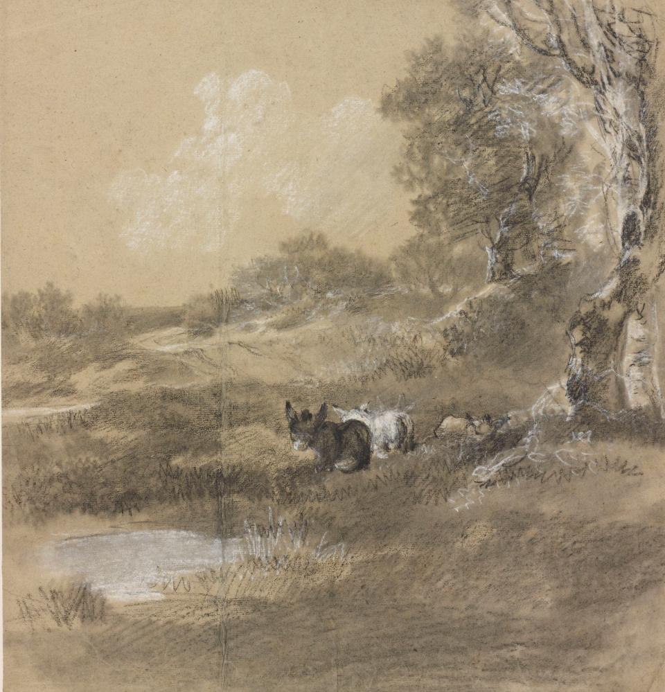 8-Томас Гейнсборо - Лесной пейзаж с двумя ослами - 1750.jpg