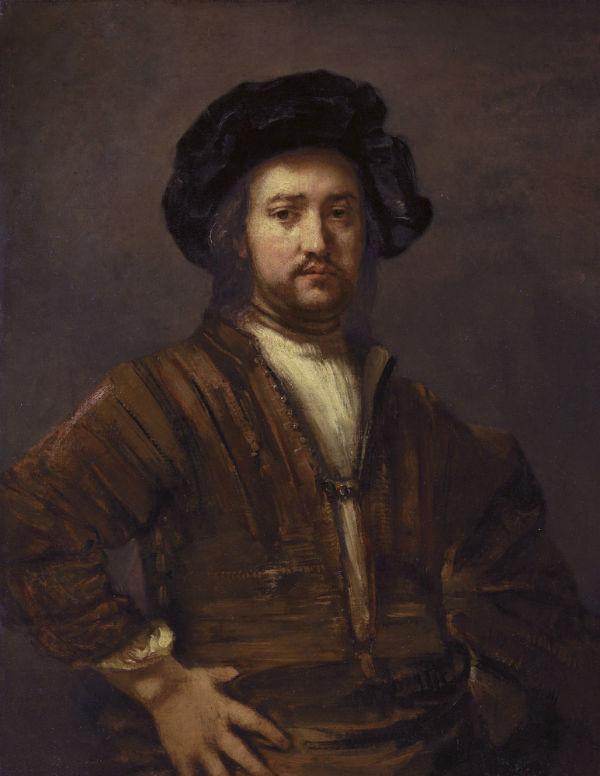 8-Рембрандт Харменс ван Рейн - Портрет мужчины с рукой на боку -  1658 - Университет Квинс - Квинсингтон.jpg