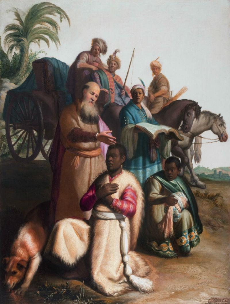 12-Рембрандт Харменс ван Рейн - Крещение евнуха - 1626 - Музей монастыря Святой Екатерины - Утрехт.jpg