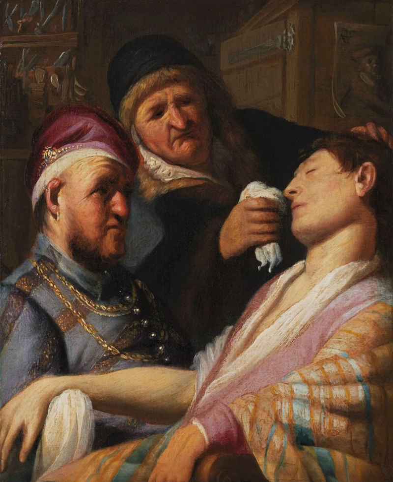 13-Рембрандт Харменс ван Рейн - Пациент без сознания (Обоняние) - 1625 - Лейденская коллекция - Нью-Йорк.jpg