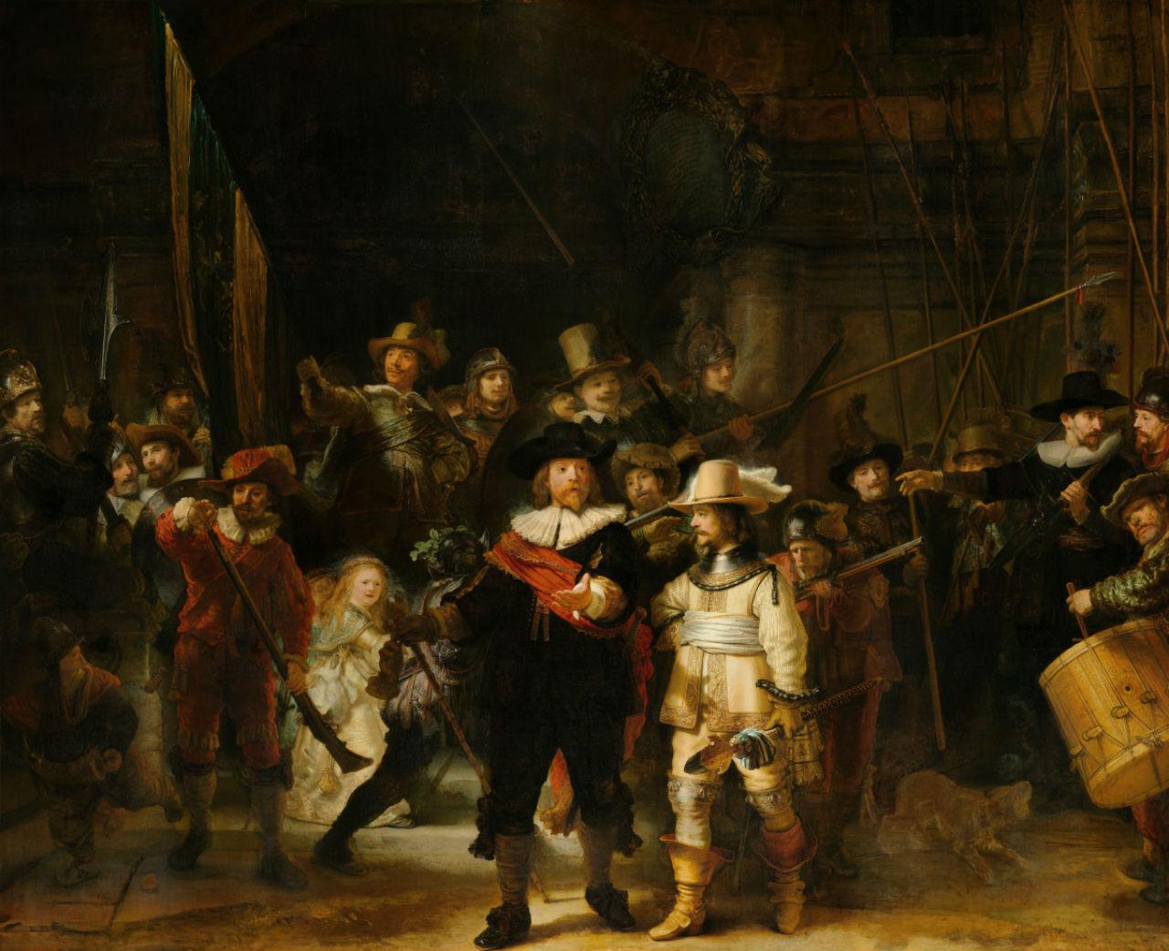 2-Рембрандт Харменс ван Рейн - Ночной дозор или Выступление стрелковой роты капитана Франса Баннинга Кока и лейтенанта Виллема ван Рёйтенбюрга - 1642…