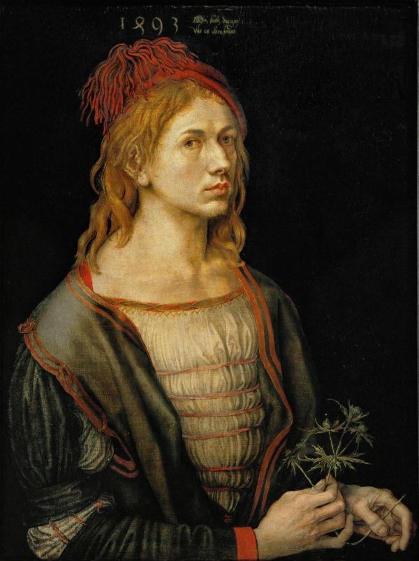 6-Альбрехт Дюрер - Автопортрет с остролистом (Автопортрет с чертополохом) - 1493.jpg