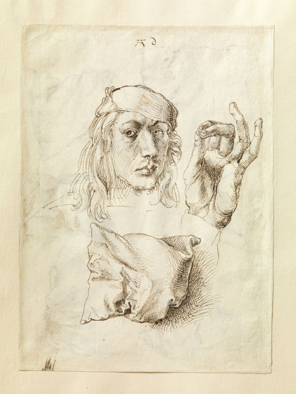 7-Альбрехт Дюрер - Автопортрет с этюдом руки и подушки (лицевая сторона листа) - 1493.jpg