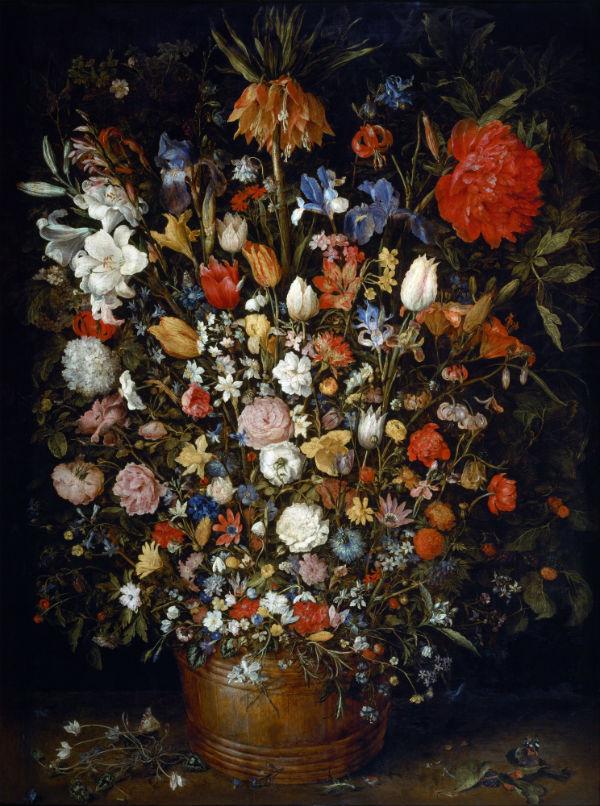 8-Ян Брейгель бархатный - Цветы в деревянном сосуде.jpg