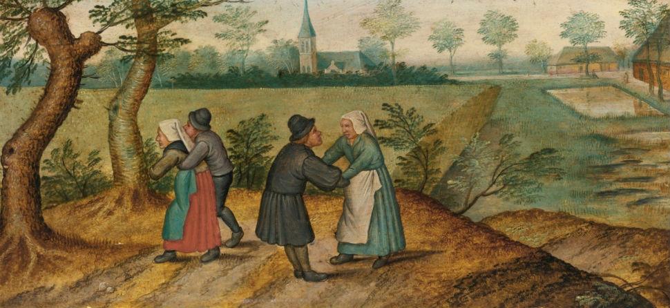 1-Питер Брейгель Младший - Сцены из жизни крестьян Две влюбленные парочки - 1620-е.jpg