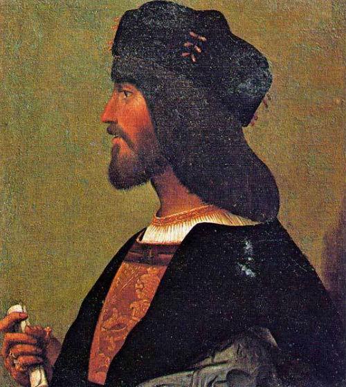 Профильный портрет мужчины из коллекции дворца Венеции в Риме (предполагаемая копия портрета Чезаре Борджиа работы Бартоломео Венето).jpg