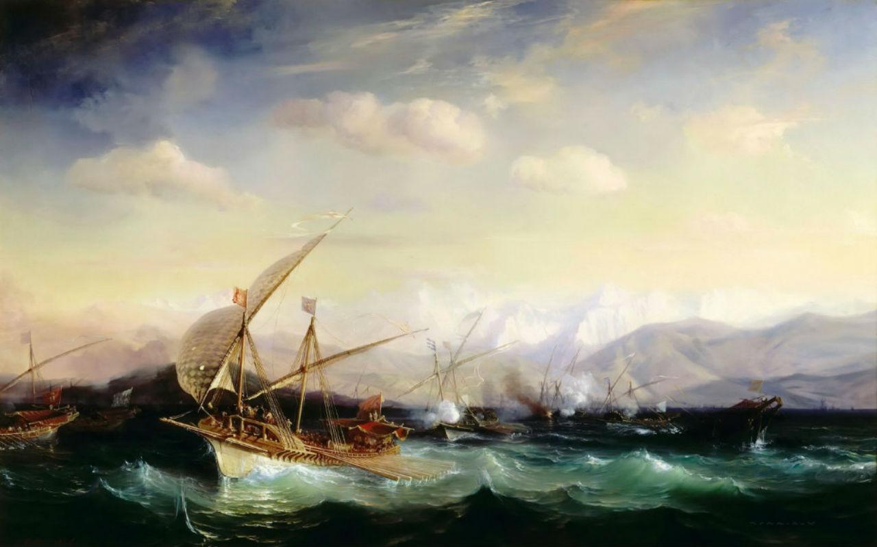 4-Теодор Гюден - Адмирал Андреа Дора рассеивает испанский флот близ Вара 7 июля 1524 года.jpg