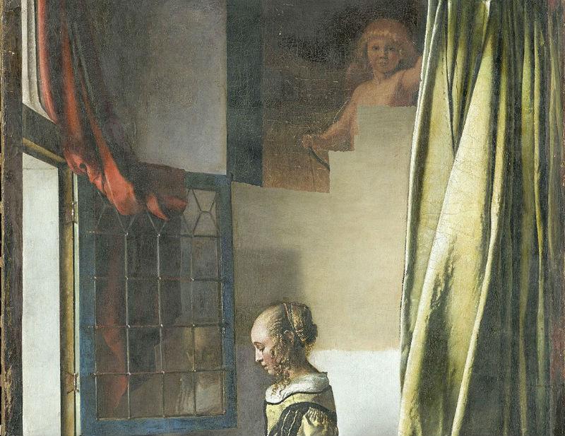 Ян Вермеер - Девушка с письмом у окна (фрагмент) -  в процессе реставрации.jpg