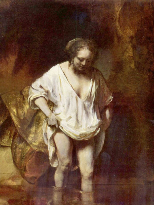17-Рембрандт Харменс ван Рейн - Женщина купающаяся в ручье (Хендрикье Стоффельс) - 1655.jpg