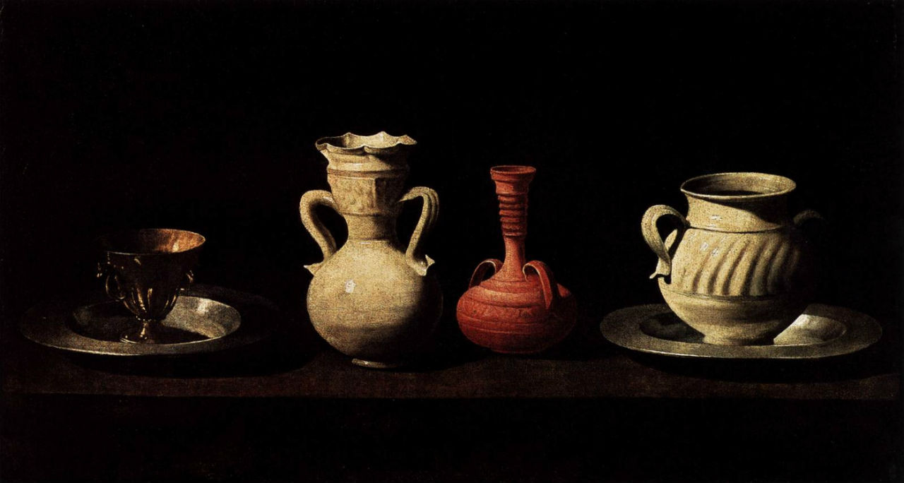 18-Франсиско де Сурбаран - Натюрморт с четырьмя сосудами - 1650.jpg